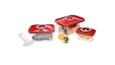 4 set ZeroPak glass vacuum containers + hand pump
