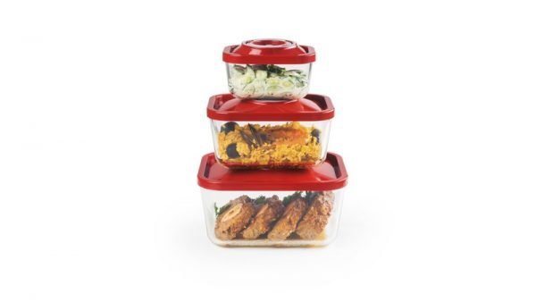 ZeroPak stacked red glass vacuum containers