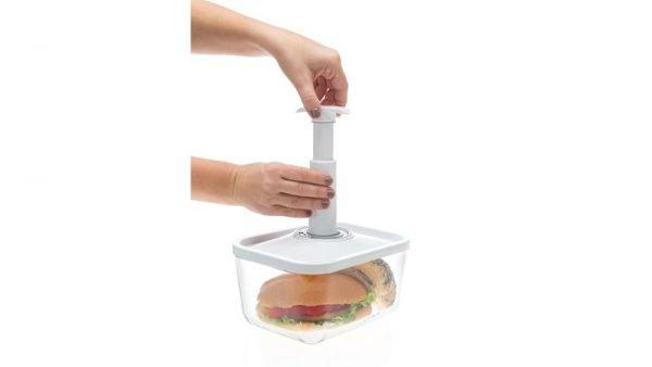 ZeroPak white glass vacuum container & hand pump